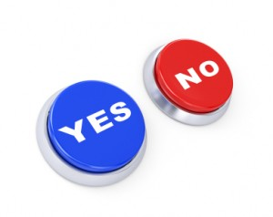 Yes or no buttons